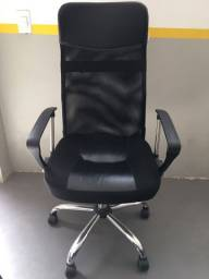 Título do anúncio: Cadeira Presidente Tela Mesh Preta Escritório Giratória Home Office Reclinável