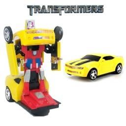 Carrinho robo novo okm Bate Bate Volta Camaro Amarelo Vira Trasformes luzes led brinquedo