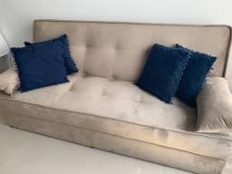 Sofá cama em veludo