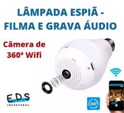 Lâmpada Filmadora Espiã Visão Noturna Wifi Sensor de Presença Vr360