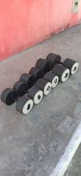 Barras e halteres de concreto emborrachados