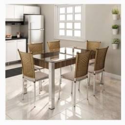 Mesa de jantar com 6 cadeiras Aço Nobre Cláudia nova.