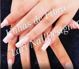 Alongamento de unhas de Fibra e Gel