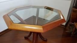 Mesa octogonal de madeira maciça