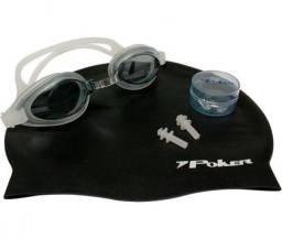 Kit Oculos + Touca + Prot De Ouvidos De Natação Aruba Poker
