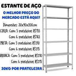 Estante/ Armário de Aço cinza 30 cm 6 bandejas Multi-uso