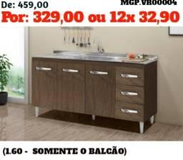 Liquida Mato Grosso do Sul - Balcão de 1,60 3 Portas 3 Gavetas Lindissimo - Embalado