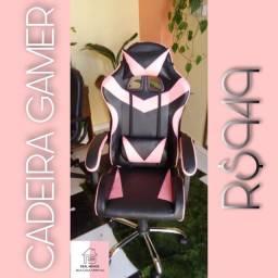 Cadeira rosa com preta gamer