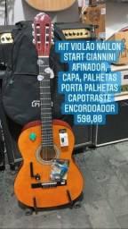Kit violão Start náilon, afinador, encordoador, porta palhetas, Capotraste, palhetas, capa