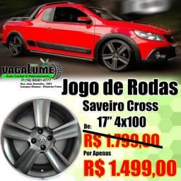 """Jogo de Rodas Saveiro Cross 17"""" 4x100"""