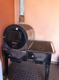 Forno a lenha hidro FHLFi-M com fogão inox interno 430 preto