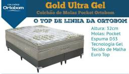 Colchão Ortobom King Pocket Gold Ultragel + Cama Box Universal Nobuck Cinza NOVO