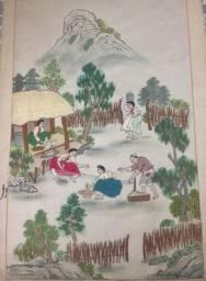 Quadro japonês bordado em seda pura