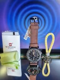 Relógio  Naviforce  Original  Preto/Marrom