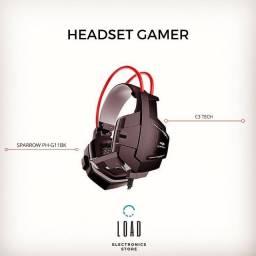 R$ 190 Headset Gamer C3 Tech Sparrow, P2, Preto e Vermelho - PH-G11BK