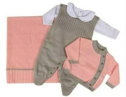 Saída maternidade linho rose com cinza