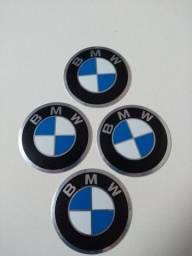 Jogo 4 Pçs Emblemas BMW Auto Colantes 65mm.