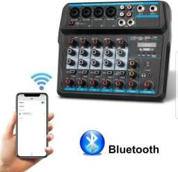 Mesa de som 6 canais com interface de áudio interno