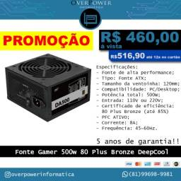Fonte Gamer 500W DeepCool DA500 80 Plus Bronze - Novo