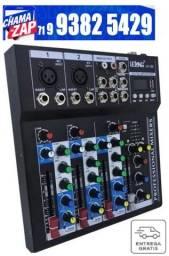 Mesa De Som Profissional Usb Mixer Mp3 Player Digital 4 Canais Le-708 Bivolt