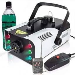 Máquina de FUMAÇA 1200 Watts Turbo Leds Frontais RGB Controle Remoto 220V + Líquido
