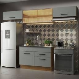 Cozinha Compacta Madesa Agata 280001 com Armário e Balcão Rustic/Cinza