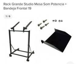 Rack Grande Studio Mesa Som Potencia + Bandeja Frontal 19