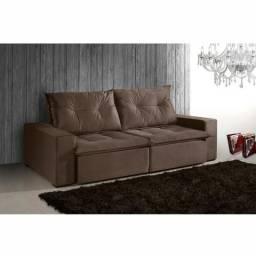 Sofá Caprice Retrátril /reclinável 230cm Suede Chocolate