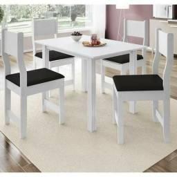 Conjunto Sala de Jantar Mesa 4 Cadeiras Dallas Indekes Branco Pague na entrega