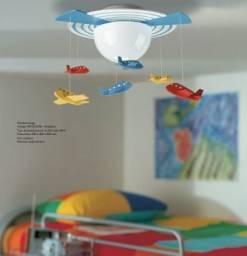 Lustre Pendente Teto Avião Azul Bebê Moderno Menino