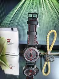 Relógio Naviforce Original Preto/Vermelho