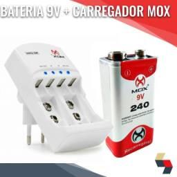 Bateria 9v 240a mox + carregador