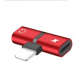 Adaptador iPhone Duplo Lightning 7/8/X Fone + Carregador