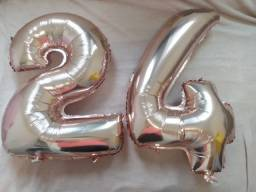 Título do anúncio: Balões metalizados cor rosê número 24 de 65cm de comprimento por 45cm de largura