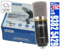 Microfone Condensador Unidirecional 20Khz com Shock Mount Plug p2 KP-M0021