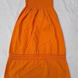 Vestido de algodão laranja tomara-que-caia