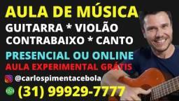 Título do anúncio: Aula de Violão Guitarra Baixo Canto. 1 Aula Grátis. Presencial ou Online. Todos Estilos!