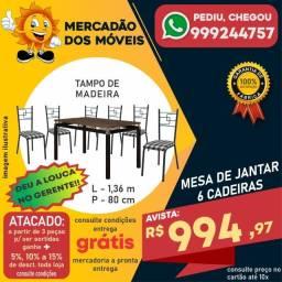 Mesa 6 Cadeiras Tampo De Madeira Em Até 10x Nos Cartões - Entrega e Montagem Grátis