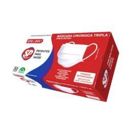 Título do anúncio: Kit 200 Máscaras Descartável Proteção Tripla Tnt Cx/50 - 4 Caixas