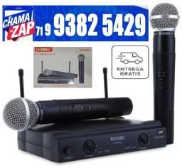 Microfone Duplo Sem Fio Wireless P/ Igrejas, Palestras, Lojas LE-906