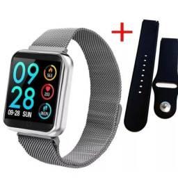 Relógio Smartwatch P70 Monitor Cardíaco Pressão Arterial Android IOS