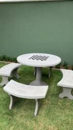 Conjuntos de mesa no concreto polido - Beto Premoldados