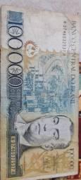 Nota de 100000 cem mil cruzeiros do banco do brasil