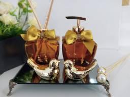 Kit Lavabo Luxo Âmbar com Dourado