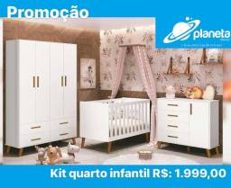 kit quarto infantil completo com cômoda, guarda-roupa e berço