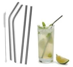 Título do anúncio: Canudos inox reutilizável, kit com 04 unidades + 01 escova de brinde