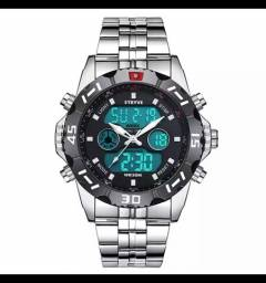 Relógio  stryve 8011 fundo preto com vermelho