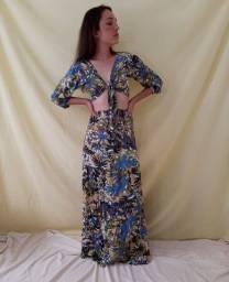 Título do anúncio: Cropped amarração e saia longa estampada conjunto feminino