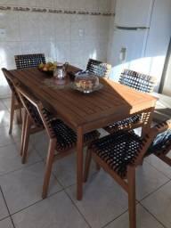 mesa com 6 cadeiras madeira maciça luxo com cadeiras de corda indiana - 8 meses de uso