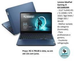 Notebook Lenovo Gaming 3i i5 256gb 8gb GTX1650 W10 Lacrado 10%desc